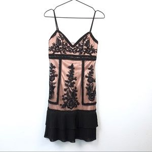 Sue Wong • Black & Pink Embroidered Cocktail Dress